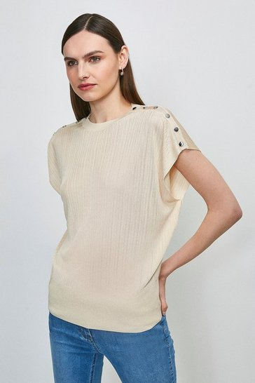 Oatmeal Slinky Rib Button Shoulder Knitted Top