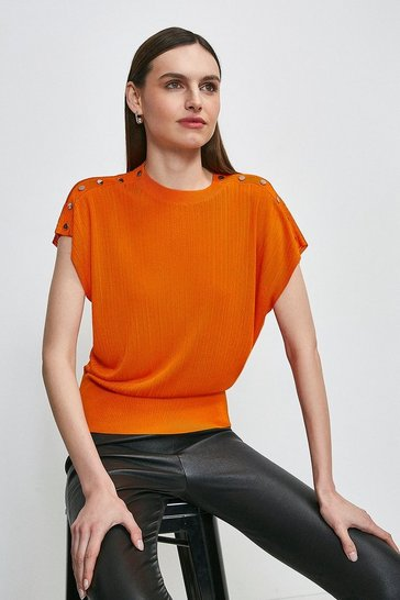 Orange Slinky Rib Button Shoulder Knitted Top