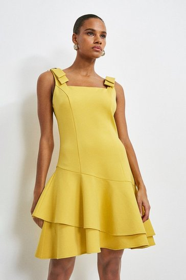 Ochre Ruffle Hem Tie Shoulder Ponte Dress