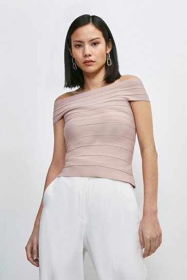 Blush Bandage Bardot Knitted Top