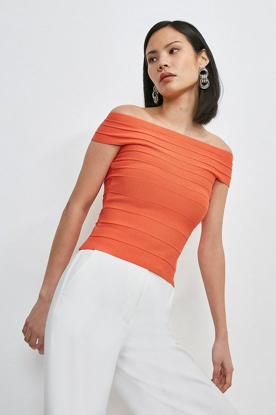 Orange Bandage Bardot Knitted Top