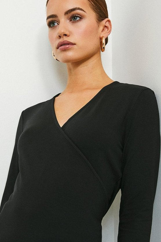 Black Viscose Jersey Long Sleeve Wrap Top