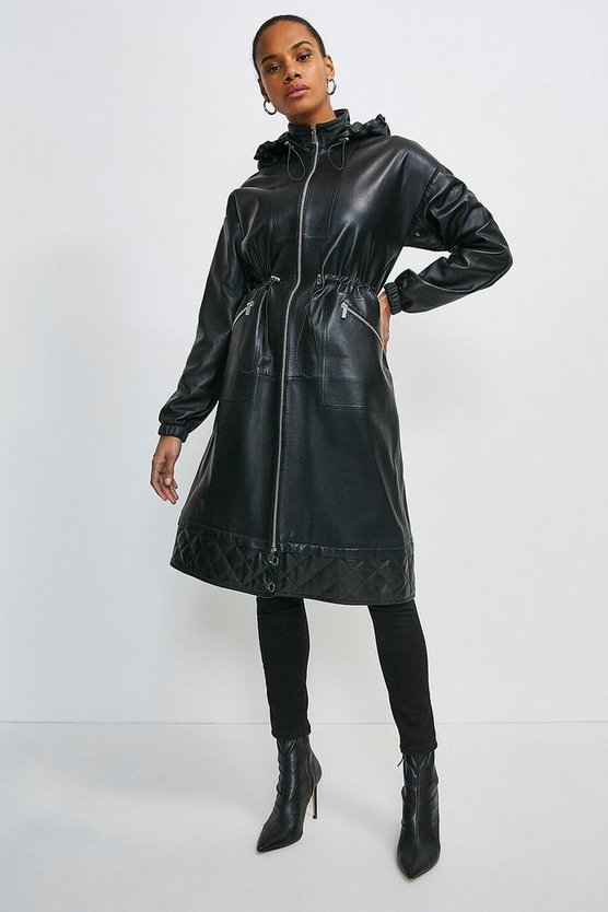 Black Leather Quilted Hem Panel Parka Coat