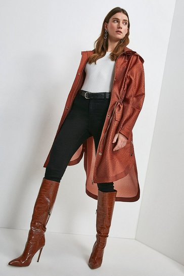 Copper Luxe Organza Parka Longerline Coat