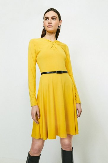 Ochre Belted Twist Neck Viscose Jersey Dress
