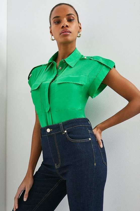 Green Silk Cotton Short Sleeved Shirt With Pockets