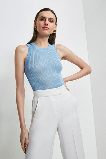 Pale blue Slinky Rib Knitted Vest