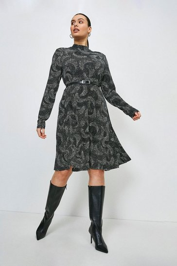Mono Curve Swirl Spot Jersey Funnel Neck Dress