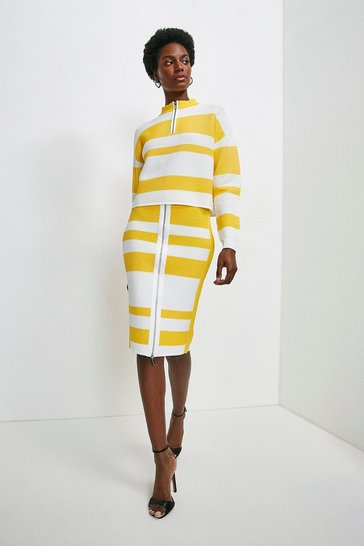 Multi Ripple Stitch Stripe Pencil Skirt