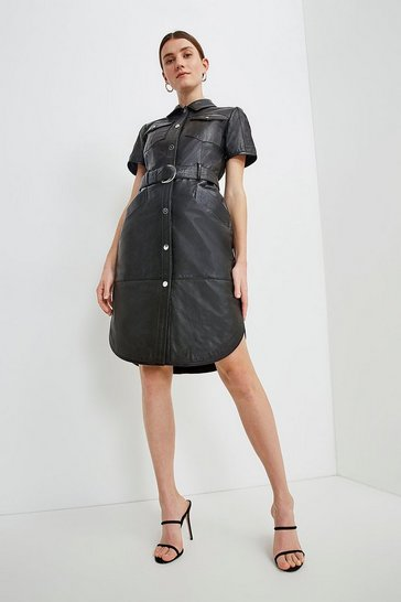 Black  Leather Perforated Belted Shirt Dress