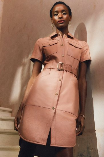 Blush  Leather Perforated Belted Shirt Dress