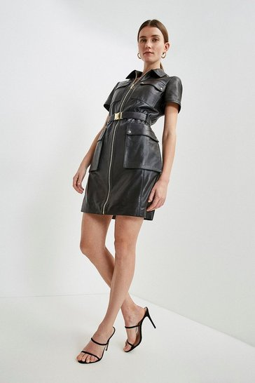 Black Leather Zip Front  Perforated  Mini Dress
