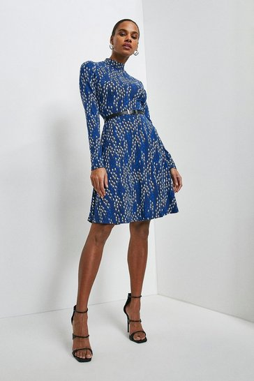 Navy Linear Geo Printed Jersey Funnel Neck Dress