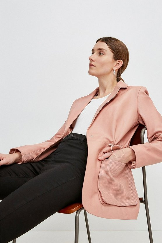 Blush Leather Perforated Panelled Blazer