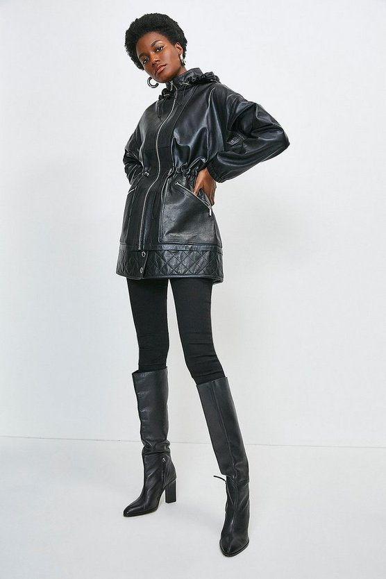 Black Leather Quilted Hem Panel Short Parka Coat
