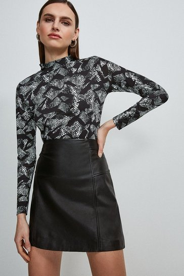 Snake Printed Jersey Funnel Neck Top