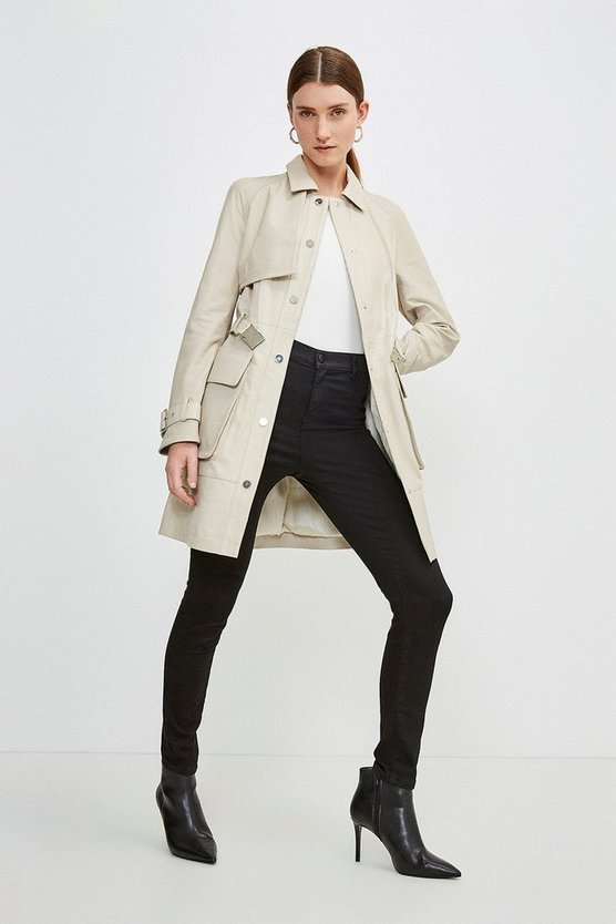 Cream Leather Sporty Pocket Trench