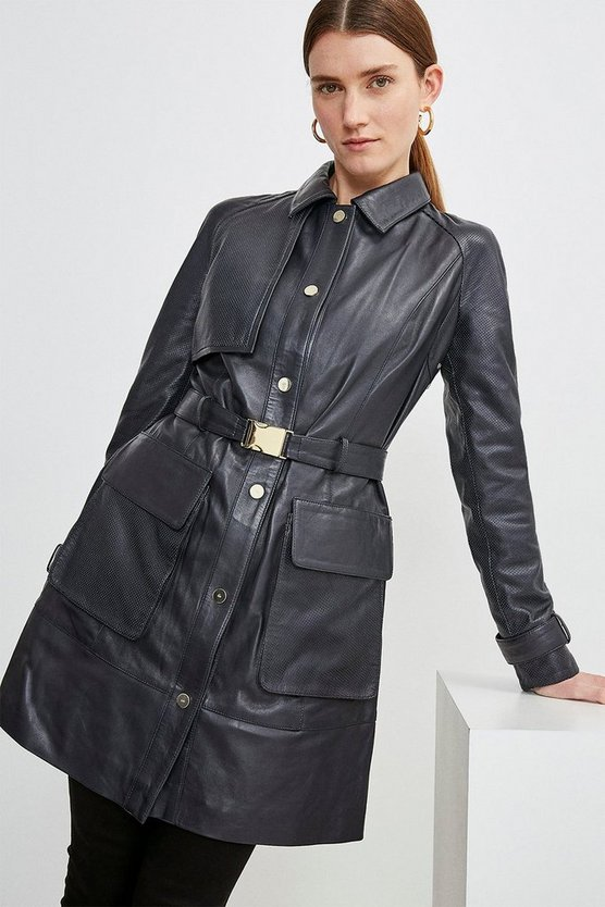 Navy Leather Sporty Pocket Trench