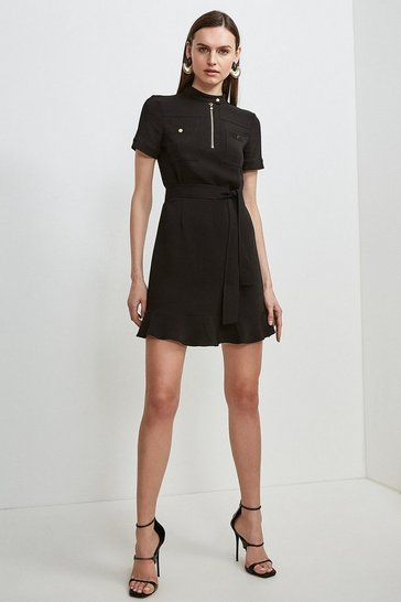 Black Compact Stretch Viscose Pocket Dress