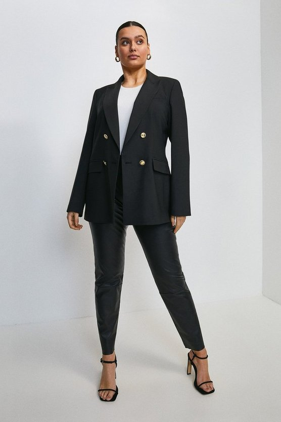 Black Curve Polished Wool Blend  Military Blazer