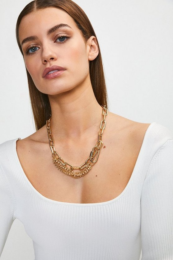 Gold Pearl Chain Statement Necklace