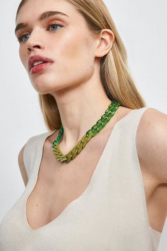 Green Matt Tonal Coloured Necklace