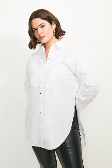 White Curve Side Button Detail Shirt