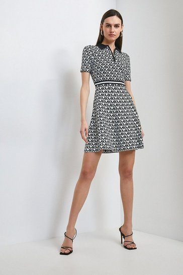 Mono Km Logo Jacquard Fit And Flare Dress