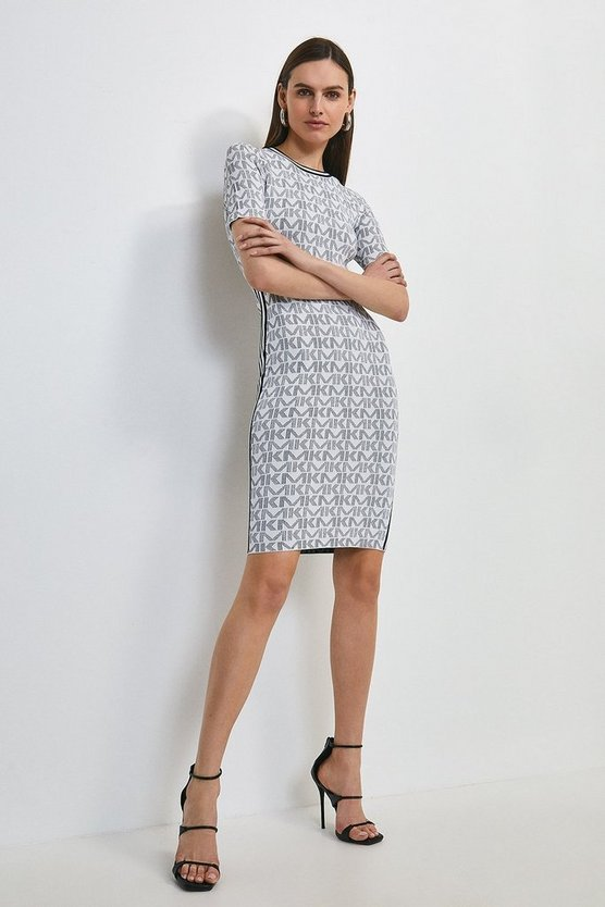 Navy Km Logo Jacquard Fitted Dress