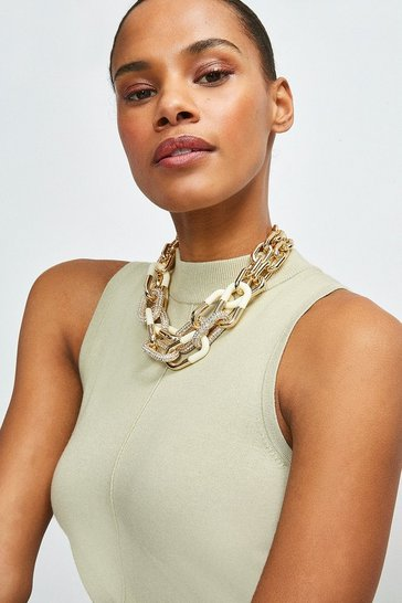 Gold Statement Chain Layered Necklace