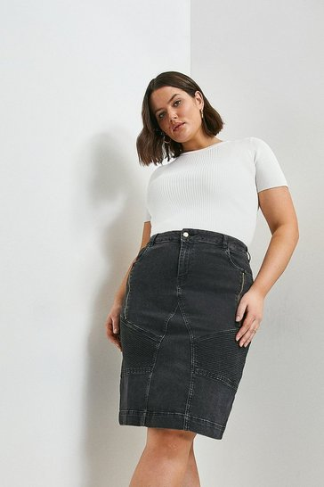 Black Curve Biker Zip Denim Skirt