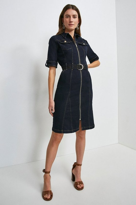 Dark indigo Zip Godet Denim Dress