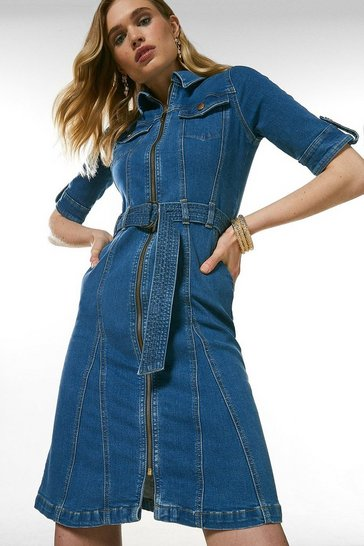 Mid wash Zip Godet Denim Dress