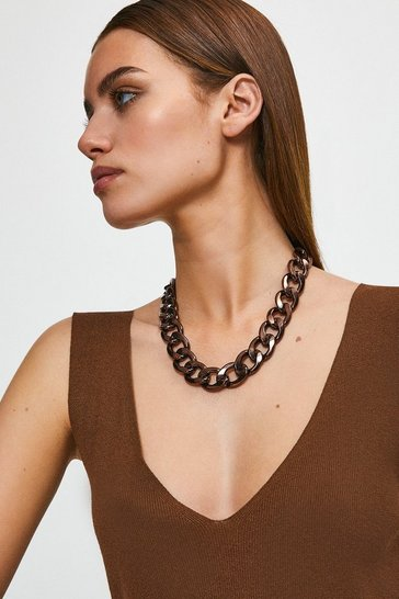 Chocolate Chunky Chain Necklace
