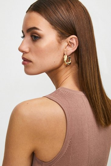 Gold Plated Twist Detail Hoops