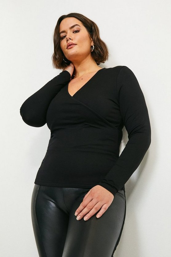Black Curve Viscose Jersey Long Sleeve Wrap Top