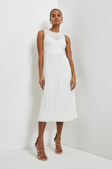 Ivory Bandage Bodice Woven Mix Dress