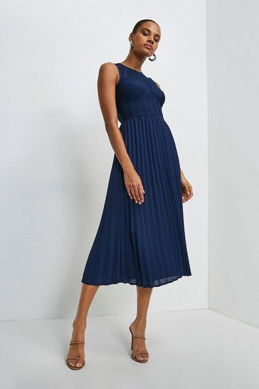 Navy Bandage Bodice Woven Mix Dress