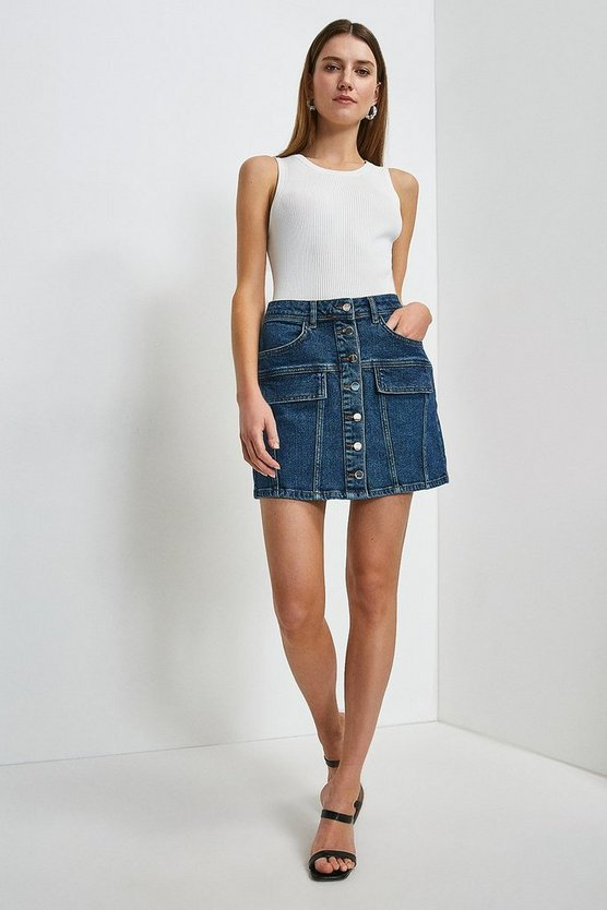 Mid wash Denim Button Cargo Mini Skirt