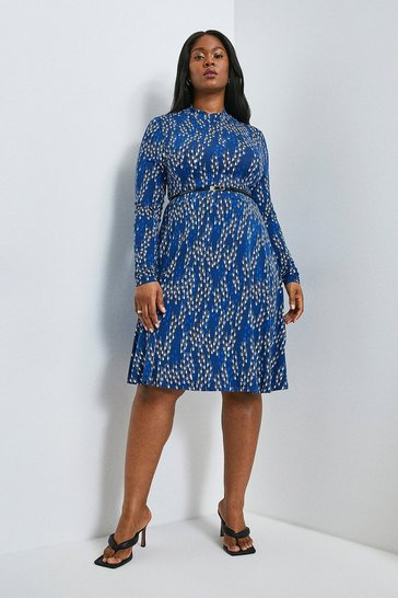 Navy Curve Linear Geo Printed Jersey Funnel Dress