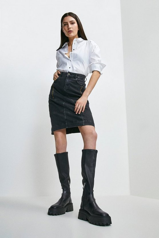 Black Biker Zip Denim Skirt