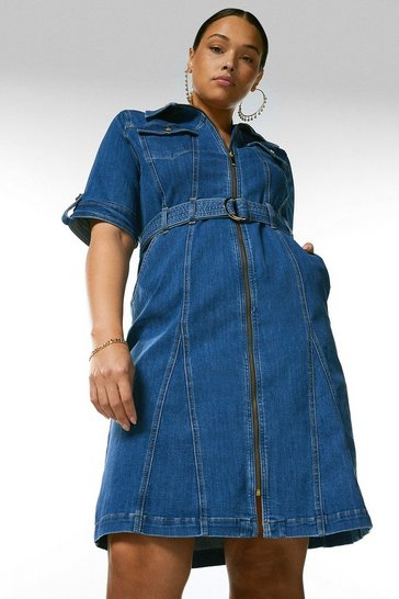 Mid wash Curve Zip Godet Denim Dress