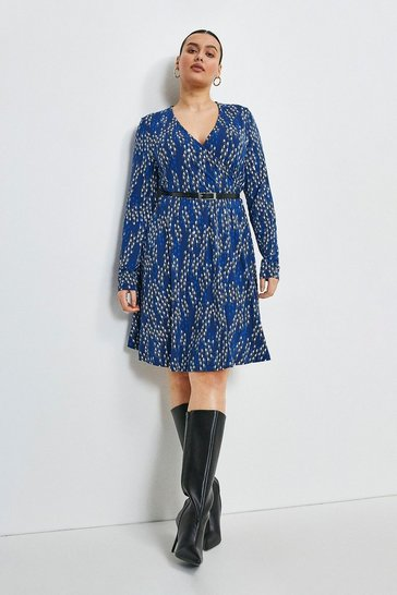 Navy Curve Linear Geo Printed Jersey Wrap Dress