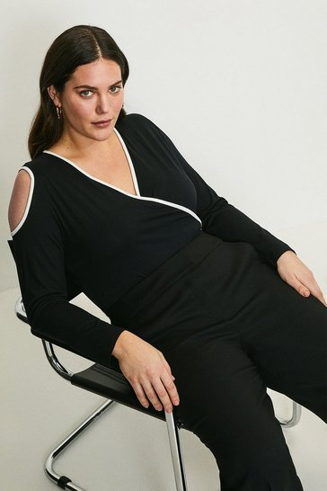 Black Curve Tipped Viscose Jersey Wrap Top