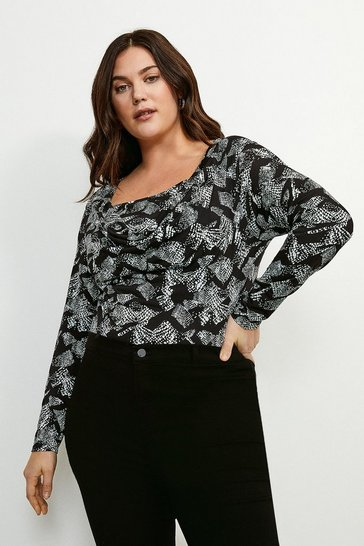 Snake Curve Printed Jersey Cowl Layered Top