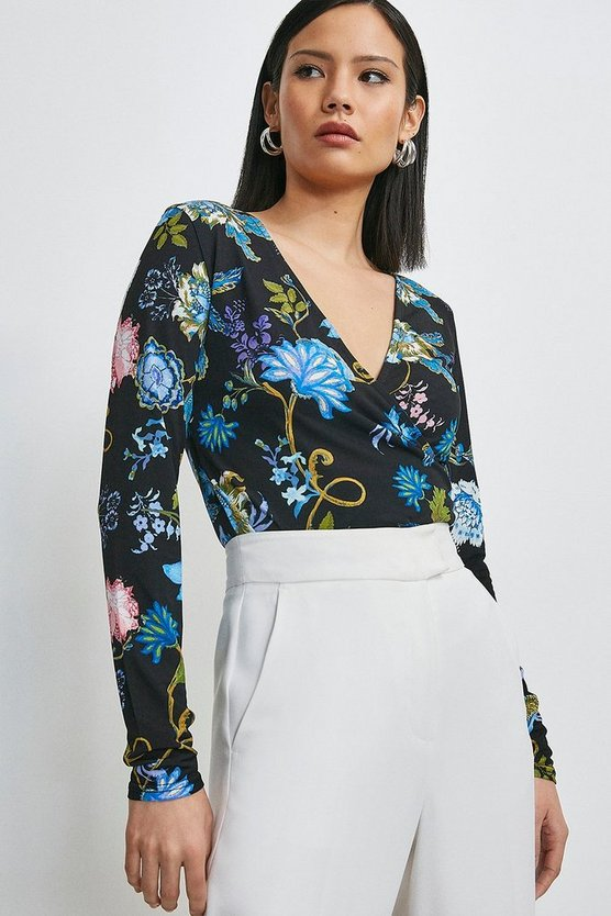 Black Folk Floral Printed Jersey Wrap Top