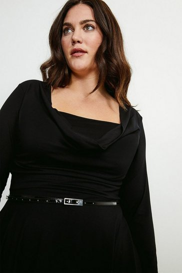 Black Curve Viscose Jersey Cowl Layered Dress