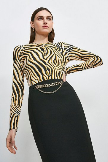 Orange Zebra Viscose Jersey Printed Twist Neck Top
