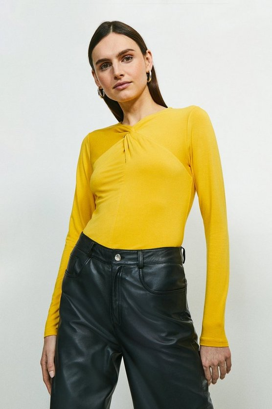 Ochre Viscose Jersey Twist Neck Top
