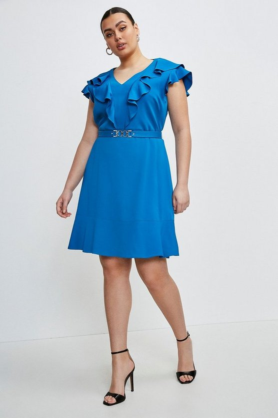 Blue Curve Stretch Viscose Ruffle Dress